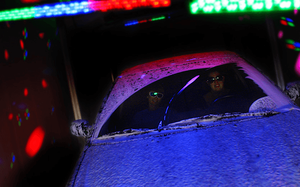 Car inside Laser Show Car Wash